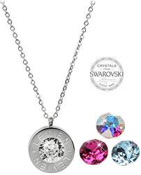 Oceľový náhrdelník 4 v 1 s výmennými kryštálmi C-FU-AQ-AB