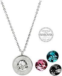 Oceľový náhrdelník 4 v 1 s výmennými kryštálmi C-LR-BZ-SN