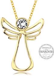 Pozlátený náhrdelník s čírym kryštálom Guardian Angel