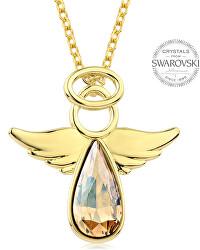 Pozlacený náhrdelník s třpytivým krystalem Angel Rafael