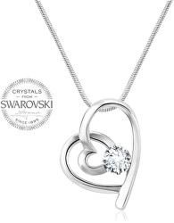 Romantický náhrdelník Srdíčko s čirým krystalem