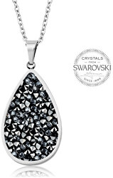 Trblietavý náhrdelník s kryštálmi SS Rocks Pear 24 grey metal