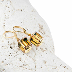 Dizajnové dámske náušnice Glass Gold z perál Lampglas ECU4