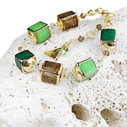 Designový náramek Emerald Shadow s perlami Lampglas BCU5