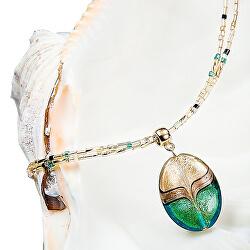 Elegantní dámský náhrdelník Green Sea World s perlou Lampglas s 24karátovým zlatem a avanturínem NP26