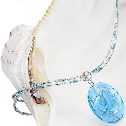 Elegantní náhrdelník Blue Lace s perlou Lampglas s ryzím stříbrem NP4