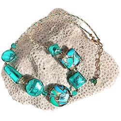 Elegantní náhrdelník Emerald Princess s 24karátovým zlatem a stříbrem v perlách Lampglas NRO1