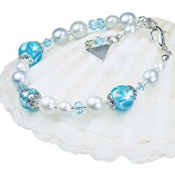 Elegantní náramek Blue Lace s perlami Lampglas s ryzím stříbrem BP4