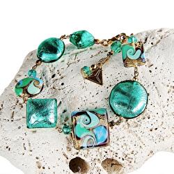 Elegantní náramek Emerald Princess s 24karátovým zlatem a stříbrem v perlách Lampglas BRO1
