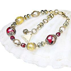 Elegantní náramek Red Sea s perlami Lampglas s 24karátovým zlatem BP25