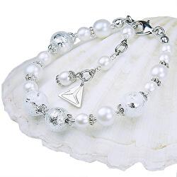 Elegantní náramek White Lace s perlami Lampglas s ryzím stříbrem BP1