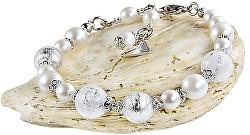 Elegantní náramek White Romance s perlami Lampglas s ryzím stříbrem BV1