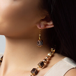 Elegantní náušnice Black Love z perel Lampglas ECU31