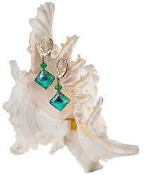 Elegantní náušnice Emerald Princess s ryzím stříbrem v perlách Lampglas ERO1