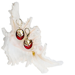 Elegantní náušnice Red Sea z perel Lampglas s 24karátovým zlatem EP25