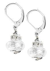 Elegantní náušnice White Beauty s ryzím stříbrem v perlách Lampglas ESH1