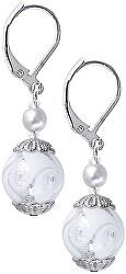 Elegantní náušnice White Romance s ryzím stříbrem v perlách Lampglas EV1