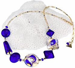 Fascinující náhrdelník Gold Blue s 24karátovým zlatem a ryzím stříbrem v perlách Lampglas NRO5