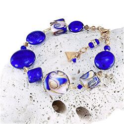 Fascinující náramek Gold Blue s 24karátovým zlatem a ryzím stříbrem v perlách Lampglas BRO5