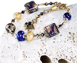Honosný náramek Egyptian Goddess s 24karátovým zlatem v perlách Lampglas BRO4