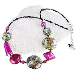 Hravý náhrdelník Sweet Candy s 24karátovým zlatem a ryzím stříbrem v perlách Lampglas NRO8