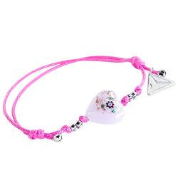 Hravý náramek Pink Flower s unikátní kresbou v perle Lampglas BLH11