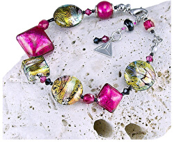 Hravý náramek Sweet Candy s 24karátovým zlatem a ryzím stříbrem v perlách Lampglas BRO3