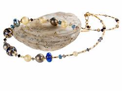 Jedinečný náhrdelník Egyptian Romance s 24karátovým zlatem a stříbrem v perlách Lampglas NER1