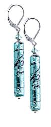 Krásné náušnice Turquoise Love s ryzím stříbrem v perlách Lampglas EPR10
