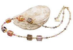 Luxusní dámský náhrdelník Glowing Desert s 24karátovým zlatem v perlách Lampglas NCU13