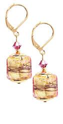 Luxusní náušnice Glowing Desert s 24karátovým zlatem v perlách Lampglas ECU13