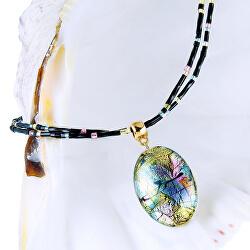 Mysteriózní náhrdelník Gold Fantasy s 24karátovým zlatem a ryzím stříbrem v perle Lampglas NP38