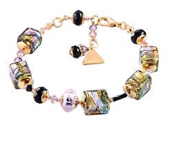 Mysteriózní náramek Gold Cubes s 24karátovým zlatem a ryzím stříbrem v perlách Lampglas BCU17