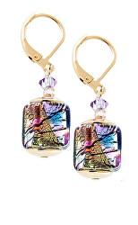 Mysteriózní náušnice Gold Cubes s 24karátovým zlatem a ryzím stříbrem v perlách Lampglas ECU17