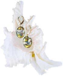 Mysteriózní náušnice Gold Fantasy s 24karátovým zlatem a ryzím stříbrem v perlách Lampglas EP38