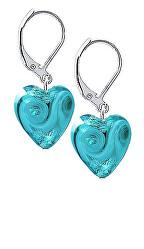 Něžné náušnice Forest Heart s ryzím stříbrem v perlách Lampglas ELH10