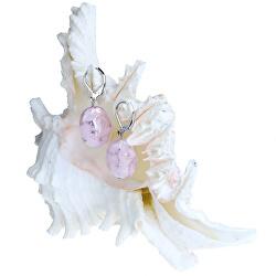 Nežné náušnice Pink Lace z perál Lampglas s rýdzim striebrom EP2