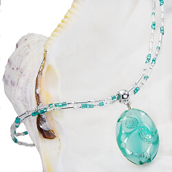 Nežný dámsky náhrdelník Turquoise Lace s perlou Lampglas s rýdzim striebrom NP5