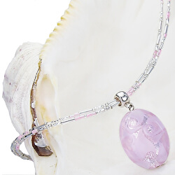 Něžný náhrdelník Pink Lace s perlou Lampglas s ryzím stříbrem NP2