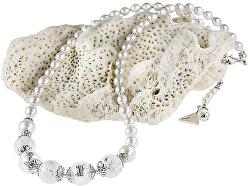 Nežný náhrdelník White Romance ss rýdzim striebrom v perlách Lampglas NV1
