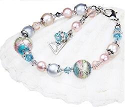Něžný náramek Sweet Childhood s perlami Lampglas s ryzím stříbrem BP22