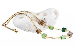 Noblesní dámský náhrdelník Emerald Shadow z perel Lampglas NCU5