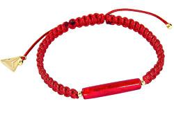 Ochraňující červený náramek Shamballa Red Line s 24kt zlatem v perle Lampglas BSHX4