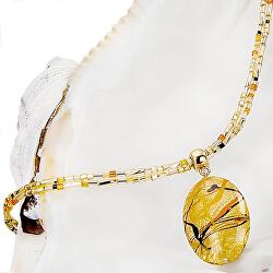 Originální dámský náhrdelník Sunny Meadow s perlou Lampglas s 24karátovým zlatem NP16