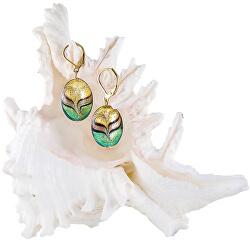Elegantní náušnice Green Sea World z perel Lampglas s 24karátovým zlatem EP26