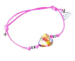 Půvabný náramek Pink Candy s 24karátovým zlatem v perle Lampglas BLH15