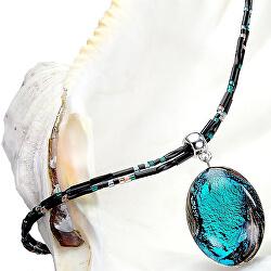 Tajemný náhrdelník Deep Sea s perlou Lampglas s ryzím stříbrem NP11
