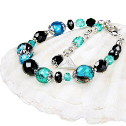 Tajemný náramek Deep Sea s perlami Lampglas s ryzím stříbrem BP11