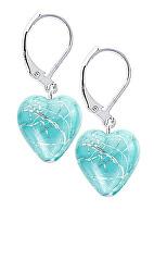 Tyrkysové náušnice Turquoise Caress s ryzím stříbrem v perlách Lampglas ELH12