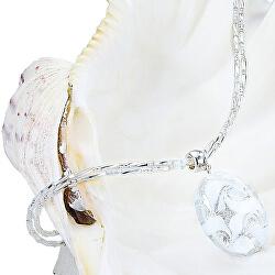 Elegantní náhrdelník White Lace s perlou Lampglas s ryzím stříbrem NP1